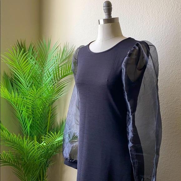 Sheer Sleeve Black Dress